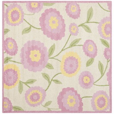 Claro Ivory & Pink Area Rug Rug Size: Square 5