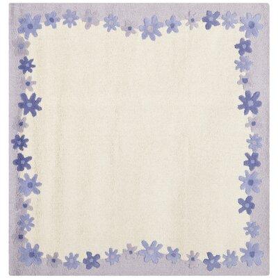 Claro Ivory / Lavender Kids Rug Rug Size: Square 5