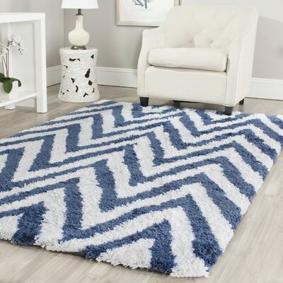 Safavieh Shag Ivory/Blue Outdoor Area Rug