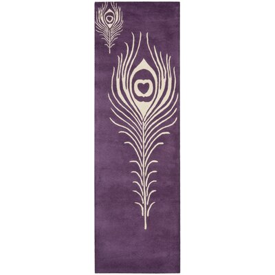 Soho Purple & Ivory Area Rug Rug Size: Runner 2'6