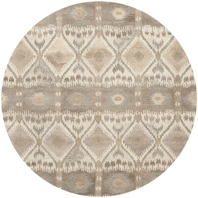 Roberts Hand-Tufted Beige/Gray Area Rug Rug Size: Round 7