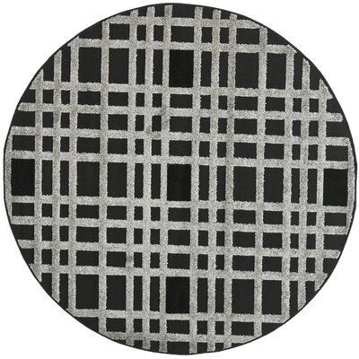 York Black/Gray Area Rug Rug Size: Round 6