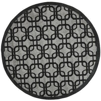 York Gray/ Black Area Rug Rug Size: Round 67 x 67