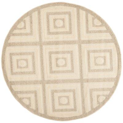 York Cream/Beige Area Rug Rug Size: Round 6 x 6