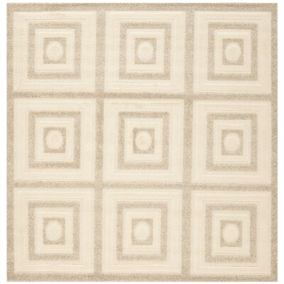 York Cream/Beige Area Rug Rug Size: Square 6 x 6