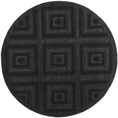 York Black Area Rug Rug Size: Round 6 x 6