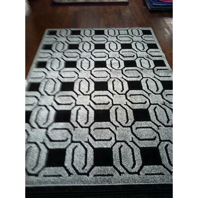 York Grey / Black Rug Rug Size: 53 x 77