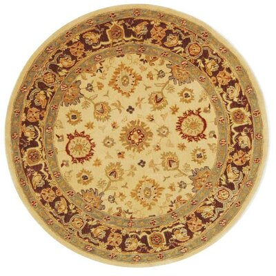 Anatolia Ivory/Brown Rug Rug Size: Round 6'