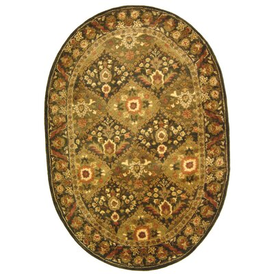 Antiquity Olive Area Rug Rug Size: Oval 4'6