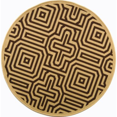 Courtyard Natural & Brown Outdoor Area Rug Rug Size: Round 5'3