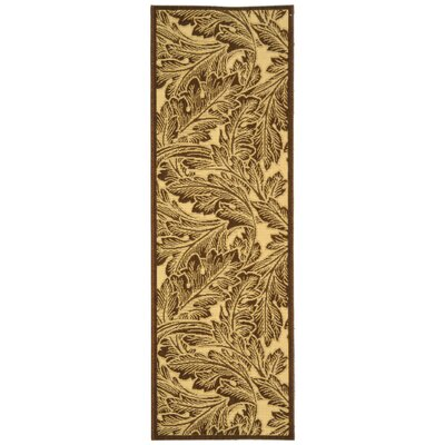Courtyard Natural/Chocolate Outdoor Rug Rug Size: Runner 2'4