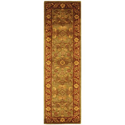 Golden Jaipur Patina Green/Rust Area Rug Rug Size: Runner 23 x 16