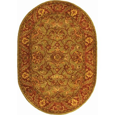 Golden Jaipur Patina Green/Rust Area Rug Rug Size: Oval 2'3