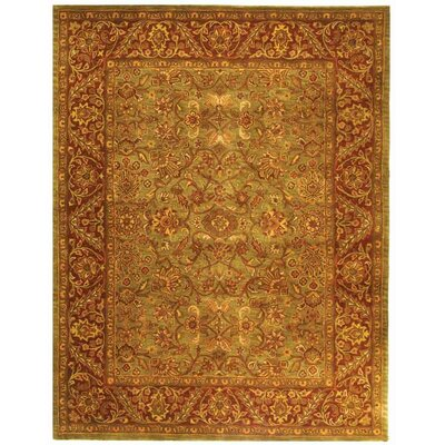 Jaipur Hand-Tufted Wool Green/Rust Area Rug Rug Size: Oval 79 x 96