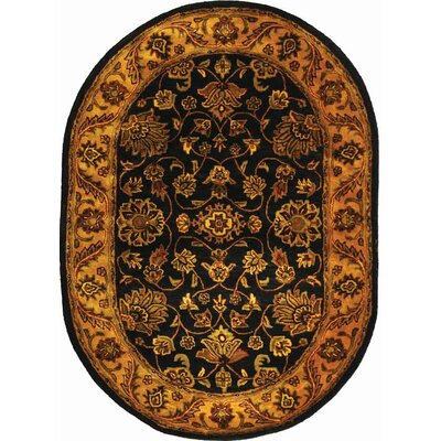 Golden Jaipur Black/Gold Area Rug Rug Size: Oval 46 x 66