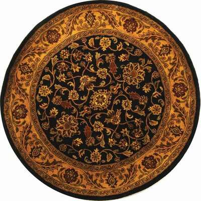 Golden Jaipur Black/Gold Area Rug Rug Size: Round 8