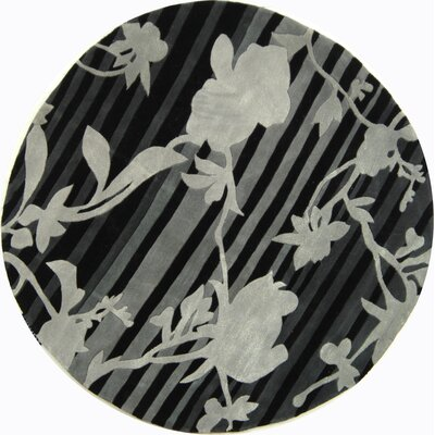 Rodeo Drive Black Floral Area Rug Rug Size: Round 59