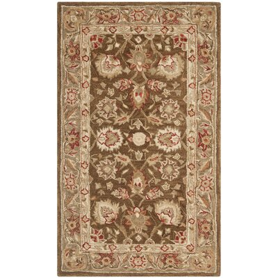 Anatolia Brown/Green Area Rug Rug Size: Round 8