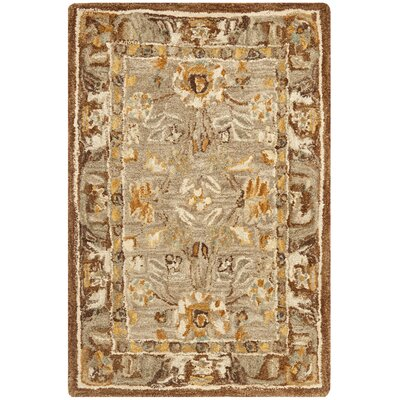 Anatolia Hand-Woven Wool Dark Gray/Brown Area Rug Rug Size: Rectangle 96 x 136