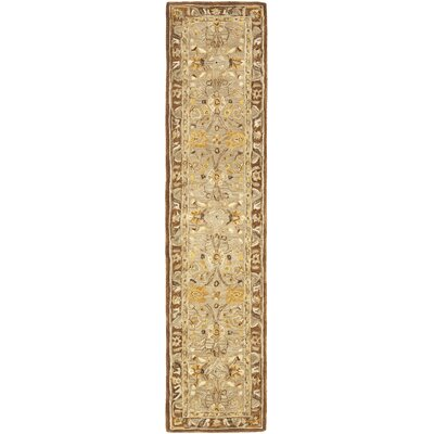 Anatolia Dark Gray/Brown Area Rug Rug Size: Runner 23 x 12
