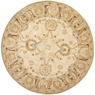 Anatolia Silver/Light Brown Area Rug Rug Size: Round 8