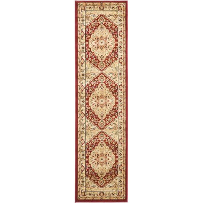 Austin Red/Cream Area Rug Rug Size: Runner 23 x 8