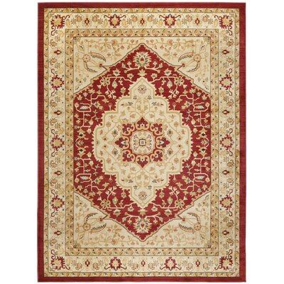Austin Red/Cream Area Rug Rug Size: Rectangle 53 x 76