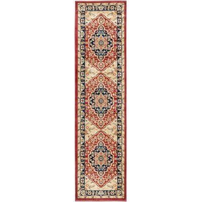 Austin Power Loom Polypropylene Red/Blue Area Rug Rug Size: Runner 23 x 8