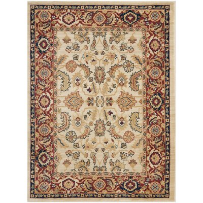 Austin Cream/Red Area Rug Rug Size: 53 x 76