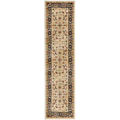 Austin Cream/Navy Area Rug Rug Size: Runner 23 x 8
