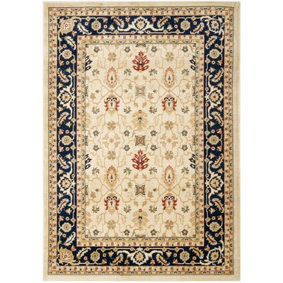 Austin Cream/Navy Area Rug Rug Size: Rectangle 4 x 57