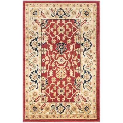Austin Red/Cream Area Rug Rug Size: 67 x 91