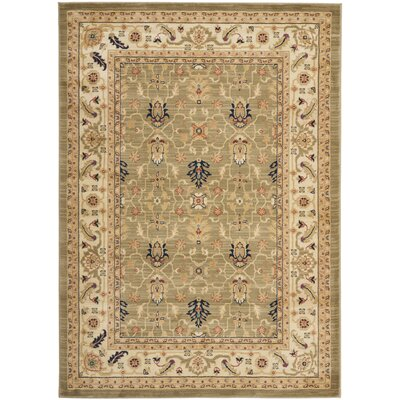 Austin Green/Cream Area Rug Rug Size: 67 x 91