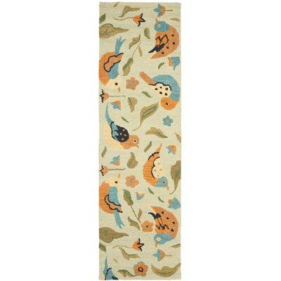 Alston Blossom Bird Sage Rug Rug Size: Runner 23 x 8