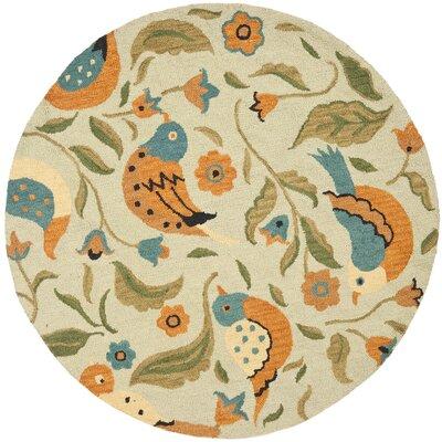 Alston Blossom Bird Sage Rug Rug Size: Round 6'