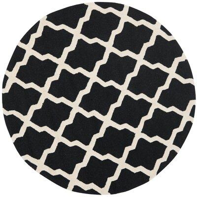 Charlenne Black & Ivory Area Rug Rug Size: Round 4