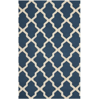 Charlenne Lattice Hand-Tufted Wool Navy Blue/Ivory Area Rug Rug Size: Rectangle 5 x 8