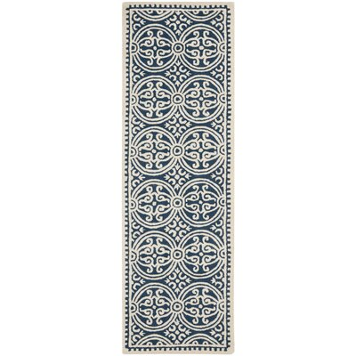 Fairburn Hand-Woven Wool Navy/Ivory Area Rug Rug Size: Runner 26 x 10