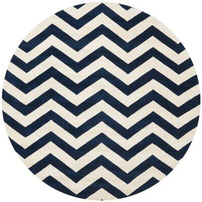 Wilkin Hand Tufted Wool Dark Blue/Ivory Area Rug Rug Size: Round 66