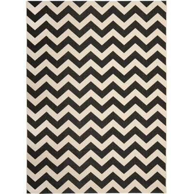 Jefferson Place Black & Beige Outdoor/Indoor Area Rug Rug Size: Rectangle 53 x 77