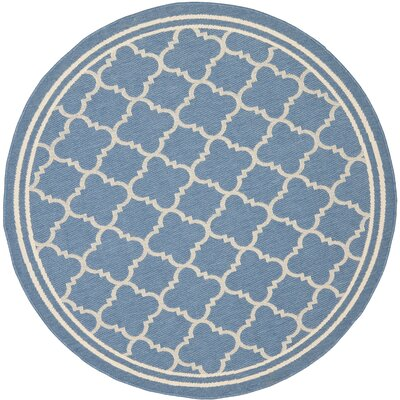 Bexton Blue Indoor/Outdoor Area Rug Rug Size: Round 53