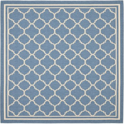 Courtyard Indoor/Outdoor Blue/Beige Area Rug Rug Size: Square 67