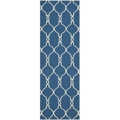 Dhurries Hand-Woven Wool Dark Blue Area Rug Rug Size: Runner 26 x 8