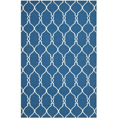Dhurries Dark Blue Area Rug Rug Size: 4 x 6