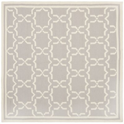 Dhurries Purple & Ivory Area Rug Rug Size: Square 6'