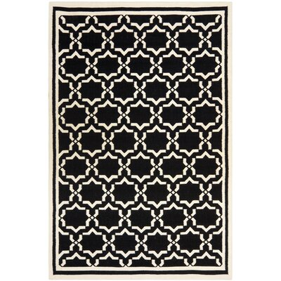 Dhurries Black/Ivory Area Rug Rug Size: Rectangle 10 x 14