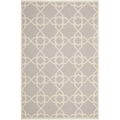 Dhurries Hand-Woven Wool Purple/Ivory Area Rug Rug Size: Rectangle 5 x 8