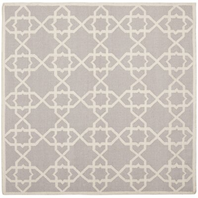 Dhurries Purple & Ivory Area Rug I Rug Size: Square 8
