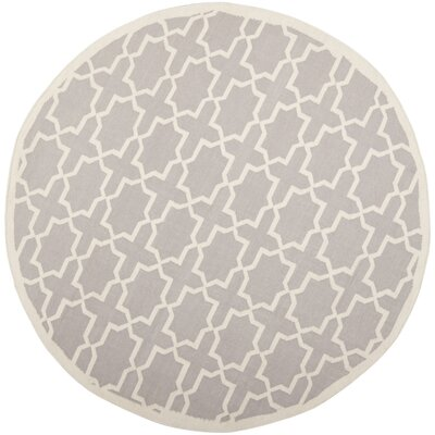 Dhurries Purple/Ivory Area Rug Rug Size: Round 8