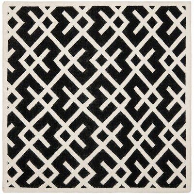 Safavieh Dhurries Black & Ivory Area Rug Rug Size: Square 6'